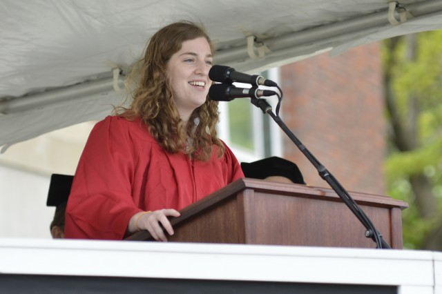 Anna Swartz '13 delivered the Senior Class Welcome at the Wesleyan Commencement Ceremony.