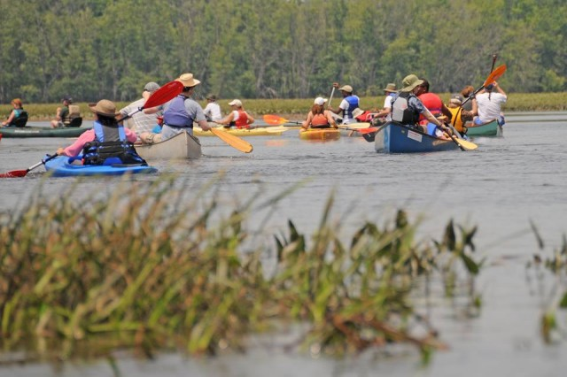 "Paddlers explore the 400-acre ""Floating Meadows"" tidal wetland at the confluence of the Mattabesset and Coginchaug Rivers."