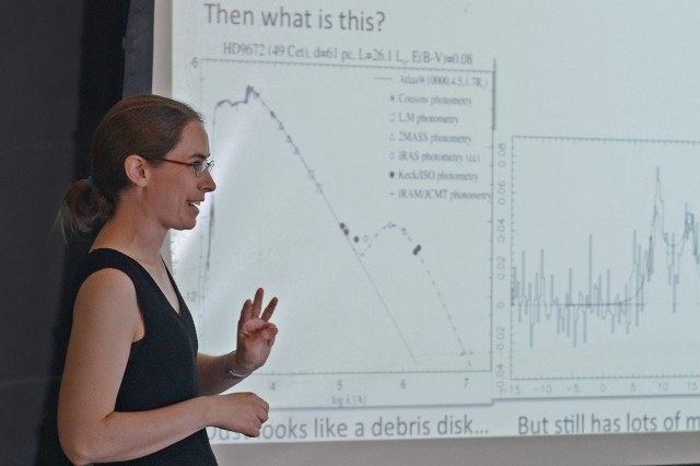 "Meredith Hughes, assistant professor of astronomy, spoke on ""Planet Formation through Radio Eyes."""