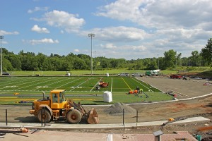 A new turf field and track is being installed at the Freeman Athletic Center this summer. The project is managed by Rob Schmidt, senior project manager.