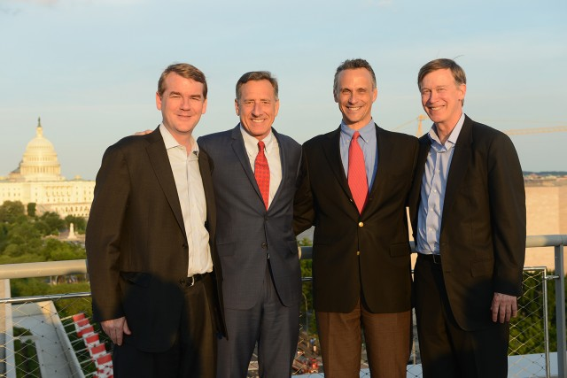 "The ""Talking Politics"" fundraiser for financial aid featured Senator Michael Bennet '87, Vermont Governor Peter Shumlin '79 and Colorado Governor John Hickenlooper '74. Wesleyan President Michael Roth is pictured third from left."