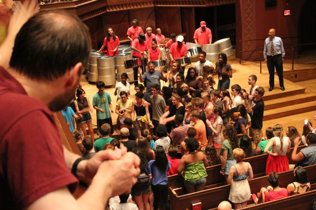 Performances never cease, even during the summer, at Wesleyan's Center for the Arts. On July 2, students, staff, faculty and community members danced to the island rhythms of the Hartford Steel Symphony in Memorial Chapel.