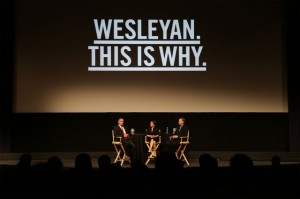 "Events such as the May 1 ""A Conversation in Hollywood""  with Colorado Gov. John Hickenlooper '74 and Emmy-award winning actress Julia Louis-Dreyfus P'14, are helping raise funds for Wesleyan's campaign."
