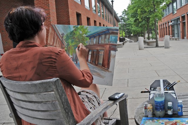 On July 22, Center for Creative Youth student Kim Reynolds, 17, of Naugatuck Public High School, painted the courtyard located between Usdan University Center and the 41 Wyllys building.
