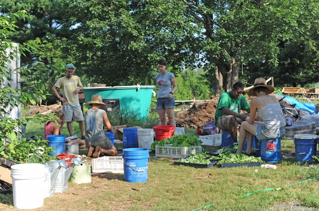 Students learn about sustainable agriculture at Long Lane Farm.