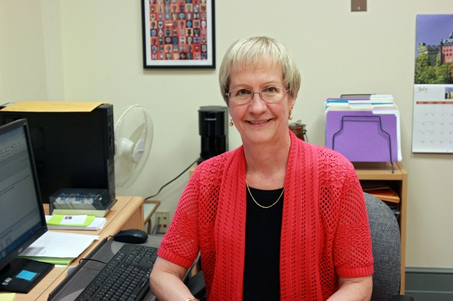Gail Winter, assistant director of the International Studies Office, received a Cardinal Achievement Award in July