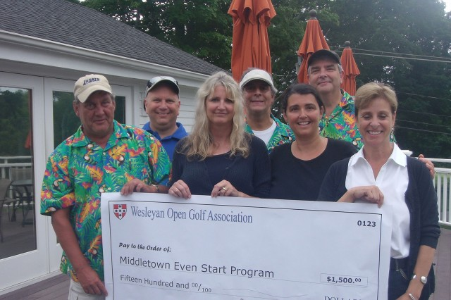 The Wesleyan Open Golf Association raised funds for the Middletown Even Start Program on July 13. Pictured, from left, in green and blue shirts, are David Meyer, the former director of Public Safety; Lou Onofrio, maintenance and repair mechanic at Physical Plant- Facilities; Frank Marselli, coordinator of the Usdan University Center; and Sean Higgins, Lock Shop foreperson. Pictured in front, from left, are Even Start employees Liz Fraser, Ellen Jahne and Lina Kronenberger.