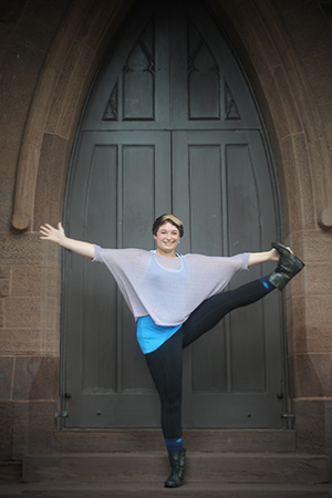 Anya Morgan '14 demonstrates one of her favorite yoga poses at Memorial Chapel. Morgan is majoring in English and French, and works as a writing tutor, yoga instructor, and a non-directive listening service on campus.