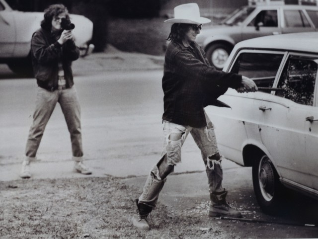 "In this 1986 photograph, director/producer/writer Joss Whedon '87, at left, makes a student film with classmate Richter Hartig '87. This photograph, taken by Brooks Kraft '87, is on display in the ""Joss Whedon: From Buffy to the Bard"" exhibit inside the Nicita Gallery through December."