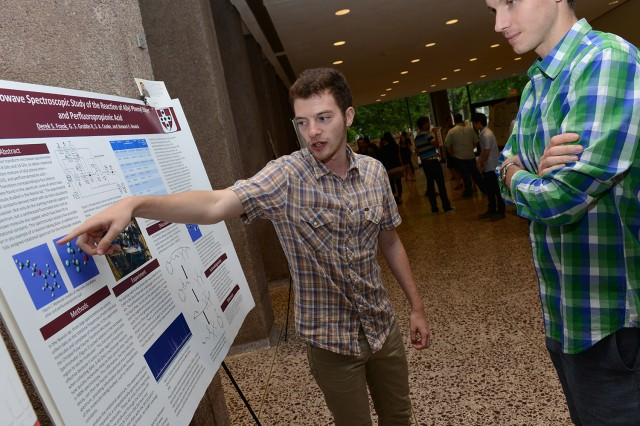 "Derek Frank '15 presented his poster titled ""Microwave Spectroscopic Study of the Reaction of Allyl Phenyl Ether."" His advisors are Garry Grubbs, Chemistry Department postdoctoral fellow; Stephen Anthony Cooke, visiting scholar in chemistry; and Stewart Novick, chair and professor of chemistry."