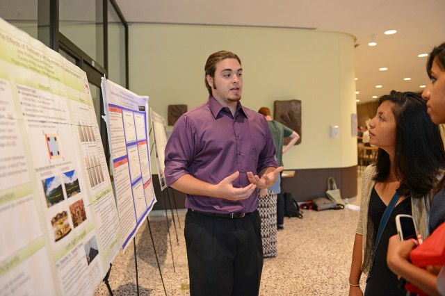 "John Pacheco '15 (pictured) and Andrew Ribner '14 presented their research on ""Navigation in Children: The Effects of Symmetry and Asymmetry on Spatial Reorientation."" Their advisor is Anna Shusterman, assistant professor of psychology."