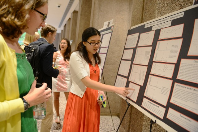 "Elaine Tsui '15 presented her research on ""Anodic Oxidation of 1,1-Diphenylacetone in Various Alcohols."" Her advisor is Albert Fry, the E.B. Nye Professor of Chemistry."