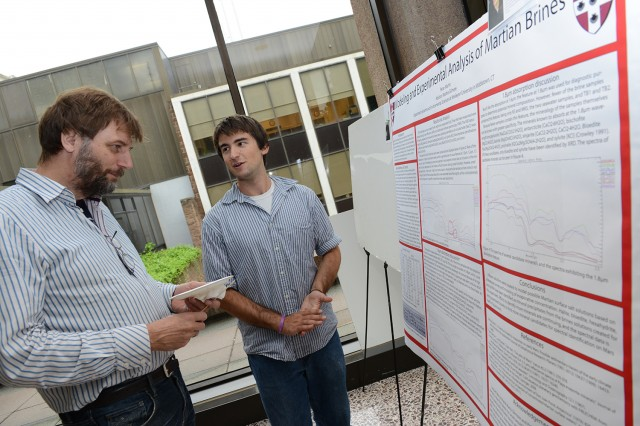 "Peter Martin '14 spoke to Professor Joop Varekamp about his research on ""Modeling and Experimental Analysis of Martian Brines."" His advisor is Martha Gilmore, chair of earth and environmental sciences."