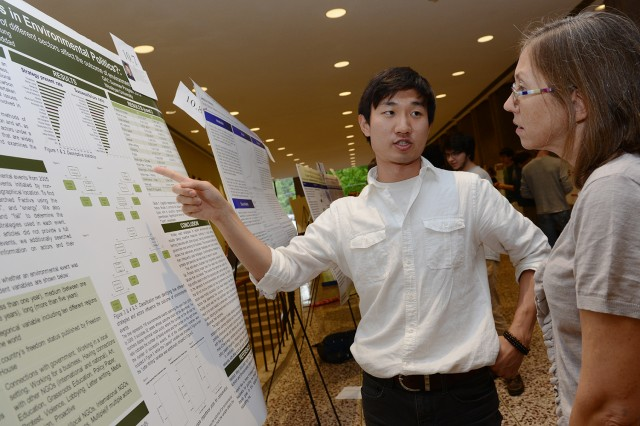 "Charlie Chung '14 presented his research on ""What matters in Environmental Politics? How the strategies of different sectors affect the outcome of environments."" His advisor is Mary Alice Haddad, associate professor of government, environmental studies, and East Asian studies."