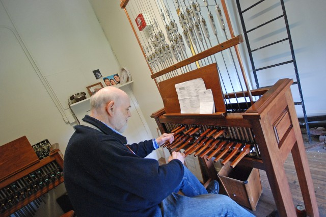 Peter Frenzel, professor of German studies, emeritus, plays Wesleyan Carillon Sept. 9 in South College.