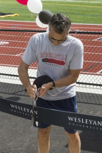 Wesleyan President Michael Roth participated in the ribbon-cutting ceremony.