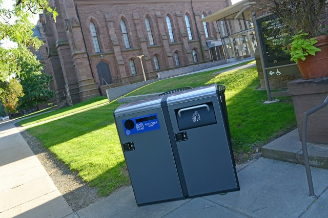 Wesleyan's new solar-powered waste compactors and single-stream recycling centers may reduce collection frequency by up to 80 percent.