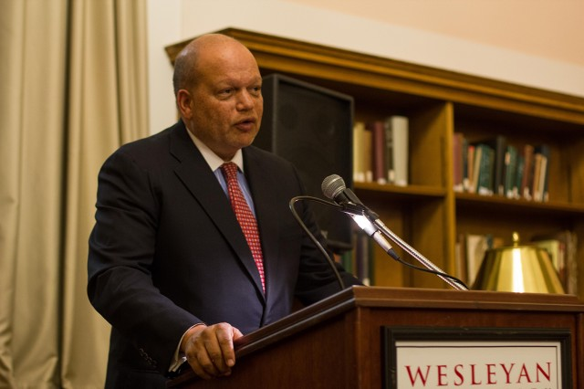 "Ted Shaw '76 spoke on ""Looking Backwards; Looking Forward: The Persistence of Race in 21st Century American Life"" during Wesleyan's annual Constitution Day celebration Sept. 17."