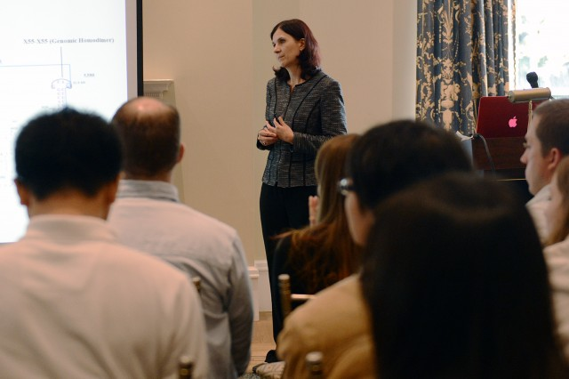 "Following a poster session, Mikhaela-Rita Mihailescu, associate professor in the Bayer School of Natural and Environmental Sciences at Duquesne University, gave her presentation ""Long-range RNA-RNA Interactions: Potential HCV Antiviral Targets?"""