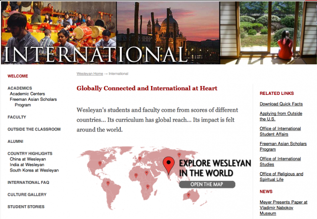 Learn about internationally-focused courses, student organizations, study abroad opportunities, cultural events and much more on Wesleyan's new International website.