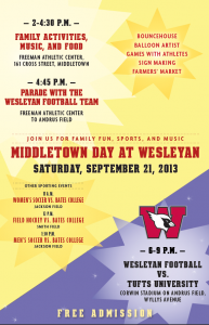 Join the Wesleyan community for family fun, sports and music at Middletown Day. All events are free of charge.