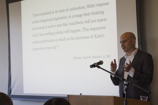 "On Sept. 23, Ulrich Plass, associate professor of German studies and Center for the Humanities faculty fellow, spoke on ""Kant after Auschwitz, or, The Task of Thinking According to Arendt and Adorno."" Plass co-organized the Arendt conference with Sonali Chakravarti, assistant professor of government and Ethan Kleinberg, director of the Center for the Humanities, professor of history, professor of letters."