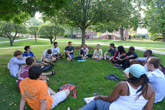 As part of New Student Orientation, members of the Class of 2017 participated in Wesleyan's First Year Matters (FYM) program. On Aug. 30, students met with orientation leaders to discuss issues related to diversity and inclusion.