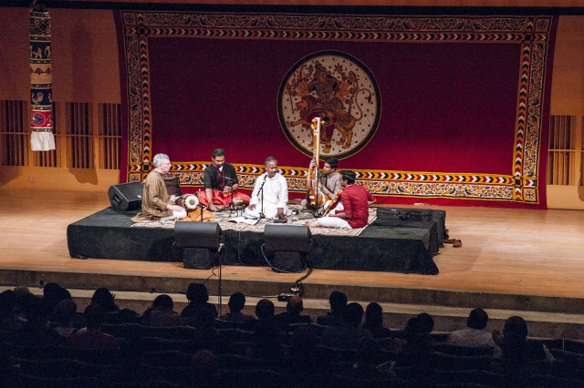 Balasubrahmaniyan was joined by David Nelson, adjunct assistant professor of music on mridangam and violinist L. Ramakrishnan and Sriram Ramesh on kanjira.