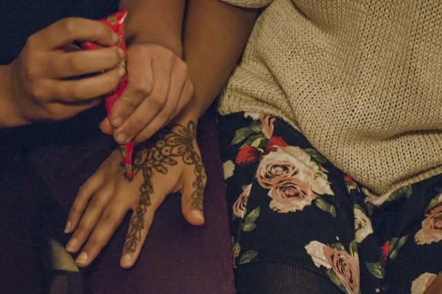 Henna application during the Navaratri Festival.