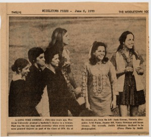In this June 1970 Middletown Press photo, six of the seven women who received degrees at the 1970 commencement, are pictured.