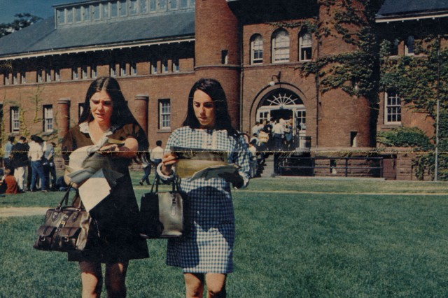 "Wesleyan will celebrate the ""Women of Wesleyan"" at ""Women in STEM Day"" Oct. 11 and at ""Campus Transformation Through Co-Education"" Oct. 12. Pictured above are two female students in 1969."