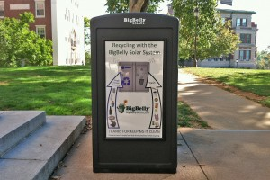 A BigBelly station is located in front of Olin Library. Be sure to empty food and drink containers before using the solar-powered bins.