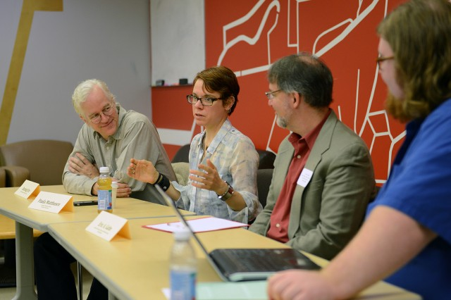Banning Eyre '80, author, editor, radio producer; Paula Matthusen, assistant professor of music; Eric Galm, associate professor of music and ethnomusicology at Trinity College; and music graduate student Nathan Friedman spoke on a panel focusing on careers in music and ethnomusicology.