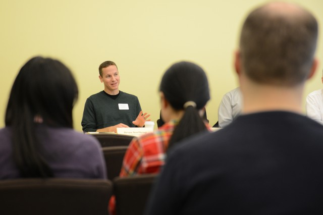 Brian Northrup, assistant professor of chemistry, spoke at a panel discussion on  career options in biology, chemistry and molecular biology and biochemistry.