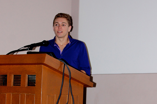"Jesse Tarnas '16 spoke on the subject ""Searching for Planets around White Dwarf Stars,"" based on his research with Seth Redfield, assistant professor of astronomy."