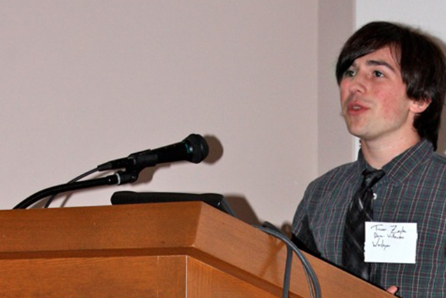 "Trevor Dorn-Wallenstein '15 presented a talk titled ""X-ray Fibrillation in the Heart of NGC 4395,"" based on work he is pursuing at Wesleyan under the direction of Ed Moran, associate professor of astronomy, and Roy Kilgard, research assistant professor of astronomy."