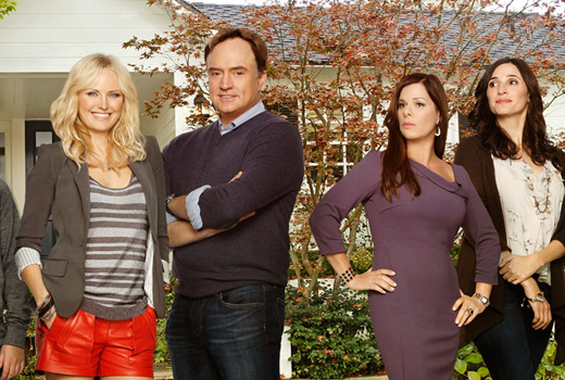 "Malin Akerman, Bradley Whitford '81, Machia Gay Hardin and Michaela Watkins in ""Trophy Wife"" on ABC"