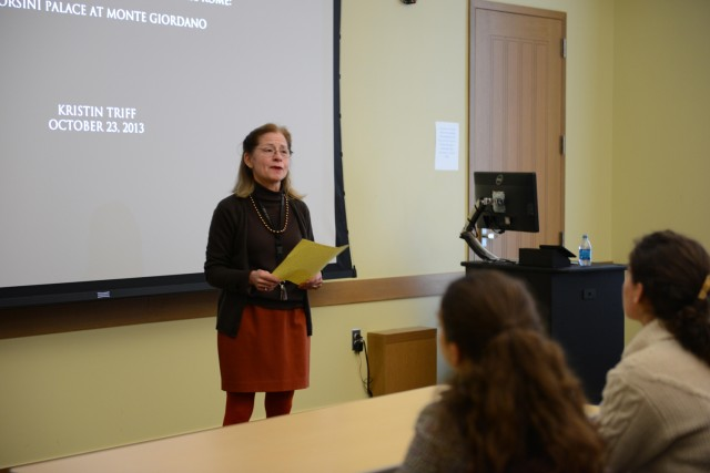 "The students who attended her talk are from two First-Year Seminar courses, ""The Roman Family"" taught by Lauren Caldwell, assistant professor of classical studies, and ""Baroque Rome,"" taught by Laurie Nussdorfer (pictured), the William Armstrong Professor of History, professor of letters, professor of medieval studies."