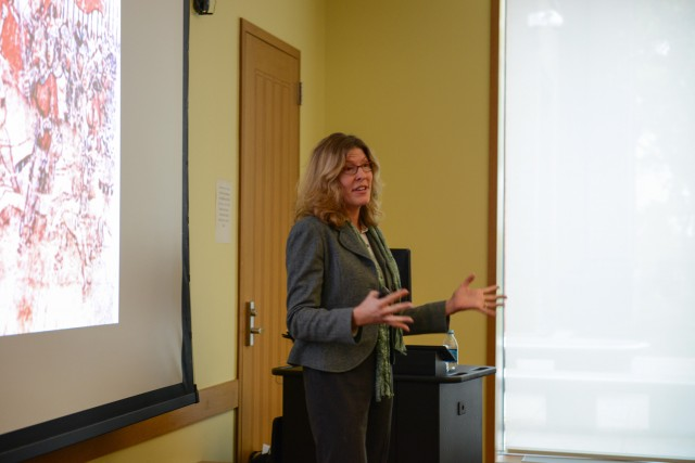 "Kristin Triff, associate professor of fine arts at Trinity College, spoke to Wesleyan students about ""Patronage and Public Image in Renaissance Rome: The Orsini Palace at Monte Giordano"" Oct. 23 in Usdan University Center. Her talk was designed to make the presentation of faculty scholarship accessible to first-year students."