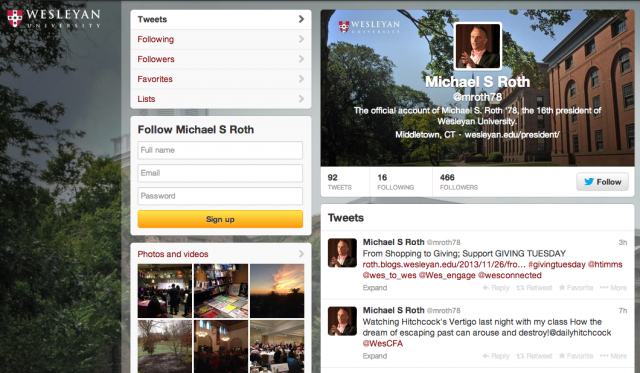 Wesleyan President Michael Roth welcomes the Wesleyan community to follow him on Twitter @mroth78.