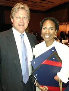 "Amber Smith '14 met Edward ""Ted"" Kennedy Jr. '83 during the Connecticut Women's Hall of Fame meeting Nov. 6. Smith said Kennedy ""is one of I AMputee's biggest supporters."""