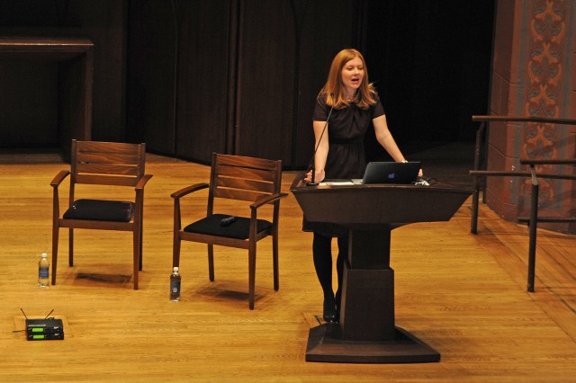 "Sarah Mahurin, visiting assistant professor of English, spoke about ""What We Talk About When We Talk About Clothes."""