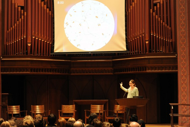 "Meredith Hughes, assistant professor of astronomy, spoke about ""Life in the Universe."""