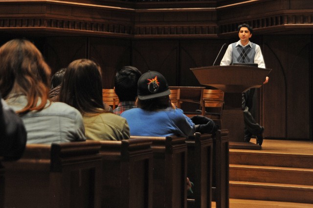 "Tushar Irani, assistant professor of letters, spoke about ""The Value of Learning."""