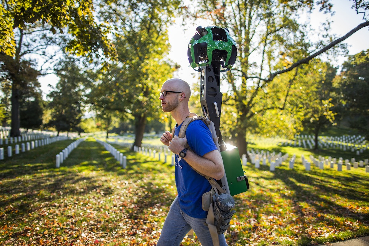 In Arlington National Cemetery, Kraft photographed Google's Trekker, a wearable backpack system that captures images in locations only accessible by foot. Google is creating a visual Street View map of Arlington National Cemetery using cars and backpacks.
