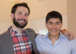 Reddit co-founder Alexis Ohanian and Peter Frank '12 spoke to Wesleyan students on Dec. 5. (Photo by Cynthia Rockwell)