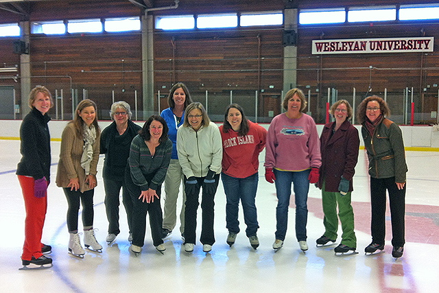 Several Wesleyan employees went skating at Freeman Athletic Center in November as part of the Cardinal Fit Challenge.