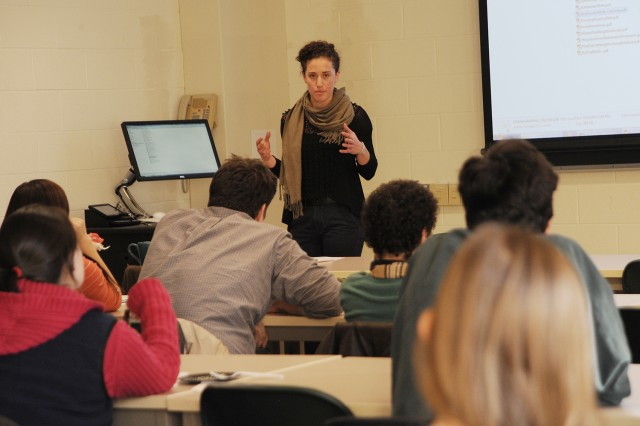 Zoe Mueller '13 returned to campus Nov. 20 to teach current students about geographic information system careers.