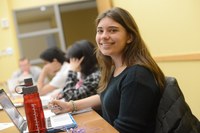 "Prospective biology major Tessa Bellone '16 recently completed the course ""Applied Data Analysis"" during Wesleyan's Winter Session."