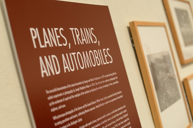 """Planes, Trains and Automobiles,"" opened Jan. 30 at the Davison Art Center. The photo-rich exhibit captures the essence and excitement of speed and machinery via images of some of the more romantic modes of transportation from the past 150 years."